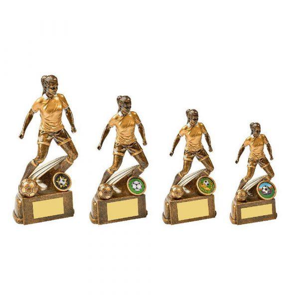 Antique Gold Female Footballer Resin