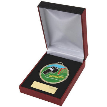 Enamel Football Referee Medal in Case