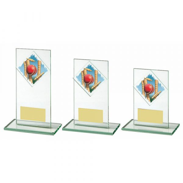 Jade Glass Upright Cricket Award with Colour Logo