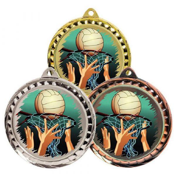 60mm Colour Print Sports Medal - Netball