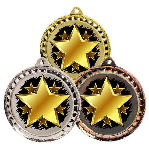 60mm Colour Print Sports Medal - Star