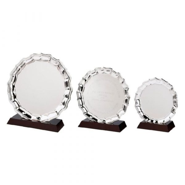 Nickel Plated Salver with Wood Plinth