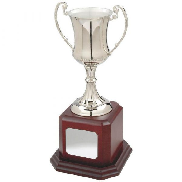 Large Waisted Nickel Plated Trophy Cup on Wood Base