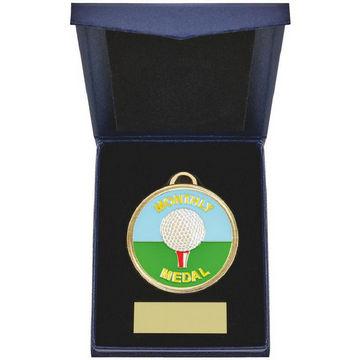 60mm Golf Medal in Navy Blue Case
