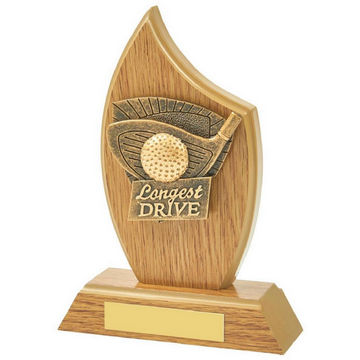 Light Oak Longest Drive Wood Plaque Award