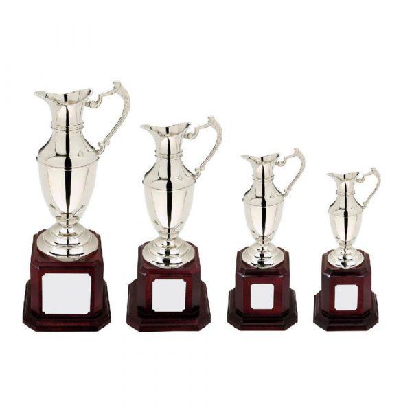 Nickel Plate Claret Jug Golf Trophy on Tall Wood Plinth