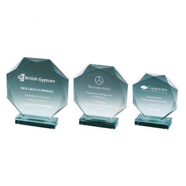 Octagonal Trophy in Jade Glass