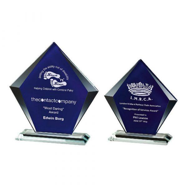 Clear/Blue Glass Diamond Stand Award