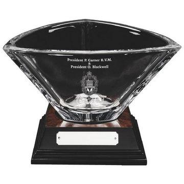 Bohemia Crystalite Bowl on Wood Base