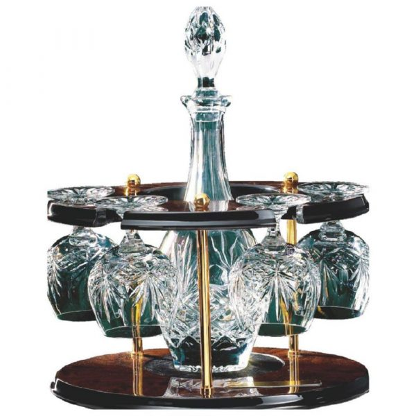 Cut Crystal Decanter set with Four Brandy Balloons on Wood Carousel