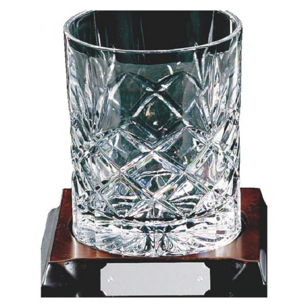 Single Full Cut Crystal Whisky Glass on Wood Stand