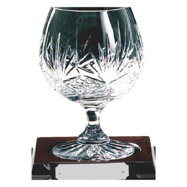 Single Cut Crystal Brandy Glass on Piano Finish Burle Wood Stand