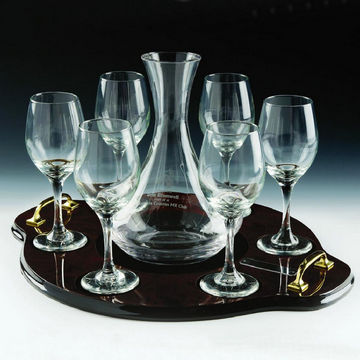 Wine Decanter and 6 Wine Glasses on Tray