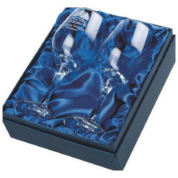 Two wine glasses in presentation box