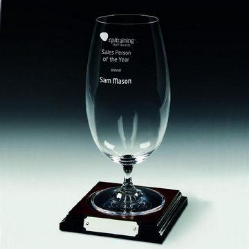 Beer Glass on Wood Base