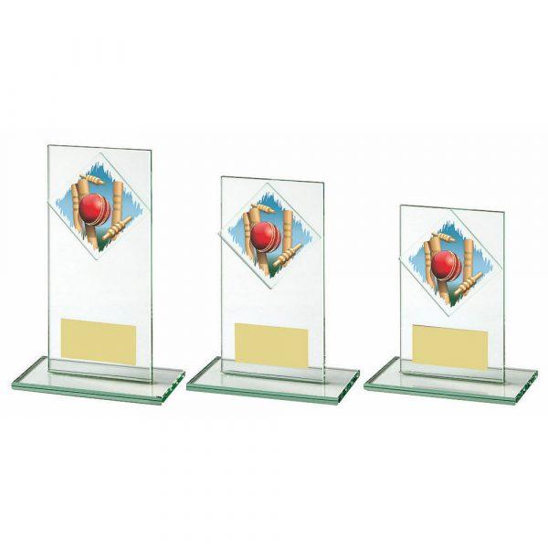 Jade Glass Upright Cricket Award with Colour Logo