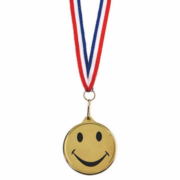 Happy Medal on Red/White Blue Ribbon