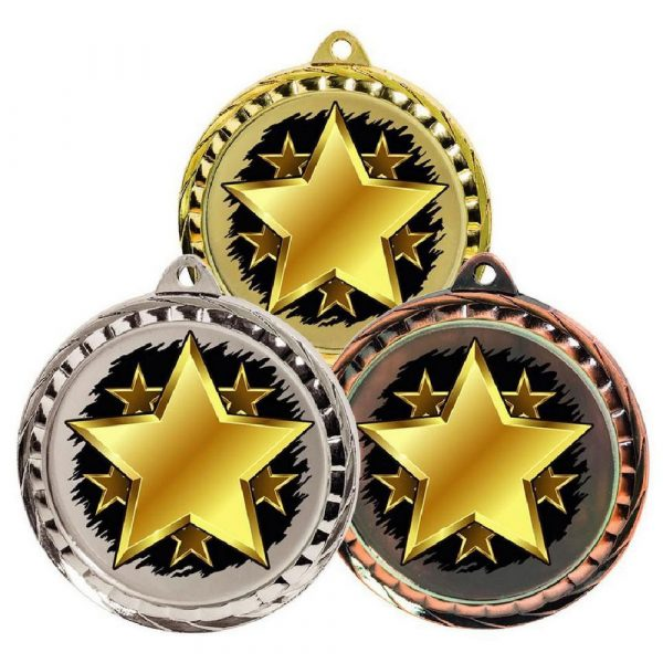 60mm Colour Print Sports Medal - Star