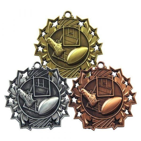 60mm Stars Rugby Medal